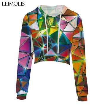 LEIMOLIS crop top hoodie women 3d print galaxy cool flash Geometric casual harajuku kawaii Spring Autumn Thin tops sweatshirt