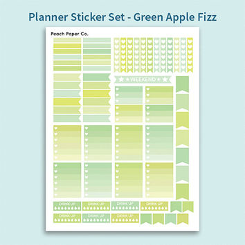 Green Apple Fizz Weekly Sticker Set / Printable Stickers / Planner Sticker Kit / Erin Condren / Weekly Planner Stickers / Pastel Stickers