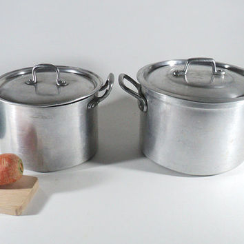 Set of 2 French Pan with Lids, Alu Metal Pan Casserole, Saucepan, Stockpot, Retro Cooking Pot