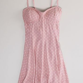 AEO Women's Polka Dot Skater Corset Dress (Blush)