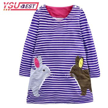 Spring Little Maven Kids Dresses for Girls Autumn Stripe Baby Girls Clothes Cotton Rabbit Print Dress Purple Leisure Kids Dress