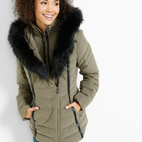 hooded (minus the) leather trim puffer coat