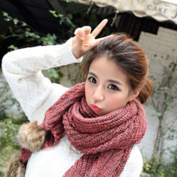 Red Knitted Long Scarf with Pom Decor