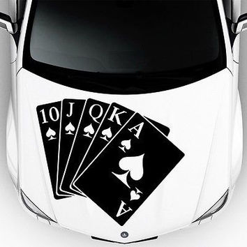 Car Hood Decals Auto Playing Cards Queen Of Spades Art Vinyl Sticker Decor DA44
