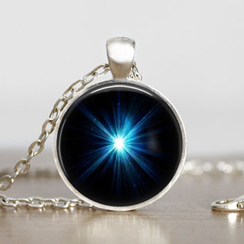 Light at the end of the tunnel glass pendant - Light Pendant - Shining star Necklace - Hope Necklace