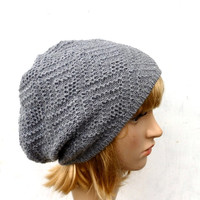 knitted beanie, knit gray winter hat, women men skull cap, knitting slouche, autumn tam , knitting accessories, knt grey hat
