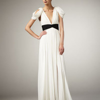 Notte by Marchesa - Draped Contrast-Waist Gown - Bergdorf Goodman