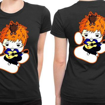 DCCKL83 Ed Sheeran And His Cute Cat 2 Sided Womens T Shirt