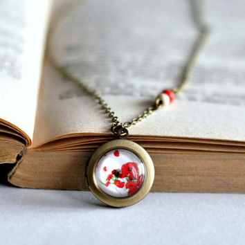 Vintage Style Glass Locket Necklace With Red Poppies, Glass Cabochon Red Locket Necklace