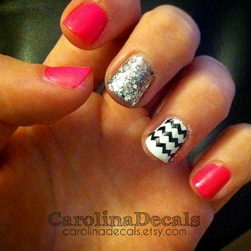 Chevron Nail Decals Black Chevron Nail Accents Chevron Stripes Nail Polish Art Chevron Accessories Nail Stickers Nail Decals Carolina Decal