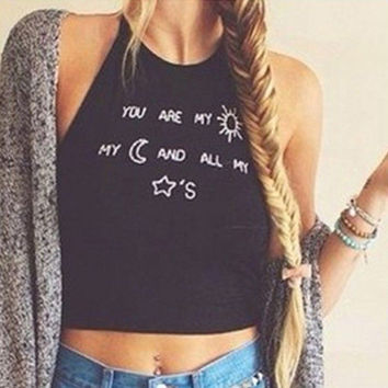 "Sexy Women's Sleeveless Crop Tops Vest Backless Halter Tank Tops Blouse T-Shirt ""You are my sunshine my moon and all my stars"""