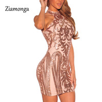 Ziamonga Women Sexy Dresses Party Night Club Sparkling Sequin Dress Summer 2017 Off Shoulder Vestido Sexy Bandage Dress C2839