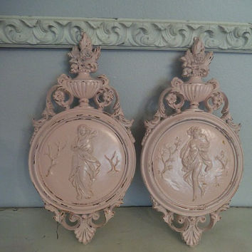 2 Distressed Pink Shabby Chic Cottage  ~ Maiden Wall Hangings ~ Ornate ~ Vintage Dart Ind.