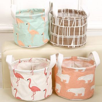 Cartoons Printed Storage Baskets Foldable Round Sundries Basket Home Office Accessories Flamingo Pattern Storage Box