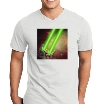 Laser Eyes Cat in Space Design Adult V-Neck T-shirt by TooLoud