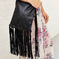 Ecote Fringe Leather Crossbody Bag- Black One