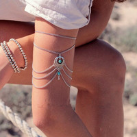 New Arrival Great Deal Stylish Gift Shiny Awesome Hot Sale Accessory Vintage Hollow Out Turquoise Water Droplets Chain Bracelet [6586319559]