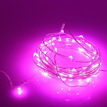 Pink 20 LED Copper Fairy Lights