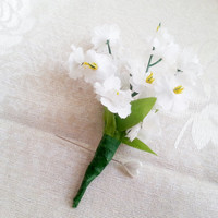 White Matthiola flowers Boutonniere Groom and groomsmen boutonniere, Wedding Flowers custom corsage