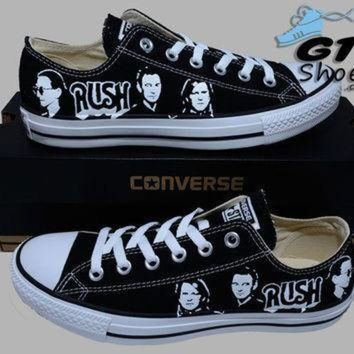 QIYIF hand painted converse lo sneakers rush music band alex neil geddy handpainted shoe