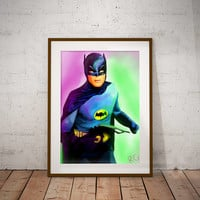 Adam West 1960's Batman Dc Comics Pop Culture Wall Art