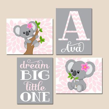 Pink Gray KOALA Nursery, Baby Girl KOALA Nursery Wall Art, Dream Big Little One, Girl Bedroom Pictures, CANVAS or Prints, Set of 4 Pictures