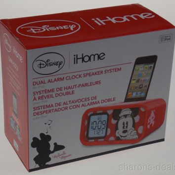 Alarm Clock Disney Minnie Mouse iHome Dual Snooze Speaker System for iPod 30 Pin