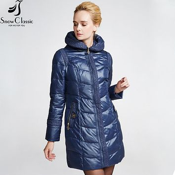 Snow Classic Female Winter Jacket 2016 Very Warm Winter Coats Hooded Jacket Parka Womens Quilted Coat close-out stock 14392