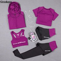 High waist pants+hooded coat+t shirt+bra+pants women yoga 5 pieces set outdoor running quick dry fitness gym clothing sports set