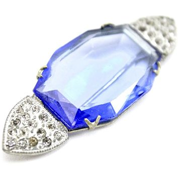 """Antique 1920s Art Deco Brooch Faceted  Blue Glass Paste 2 3/4"""" Cloche Pin"""