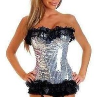 Daisy Corsets Silver Sequin Pin-Up Burlesque Corset
