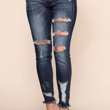 Count On It Distressed Skinny Jeans