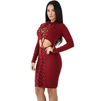 Red Lace-up Corset Dress