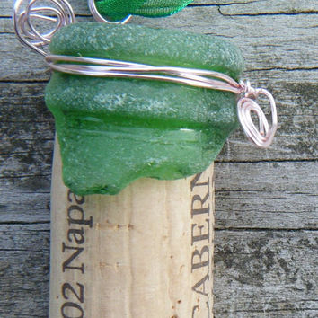Green Sea Glass Bottle top and cork necklace. Green wire wrapped sea glass pendant ON SALE WAS 18.00