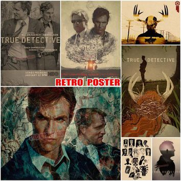 True detective the poster Mcconaughey Woody Harrison Matthew Cafe KTV restaurant hotel bar living room retro poster