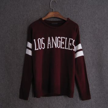LOS ANGELES Letter Jacquard Sweater