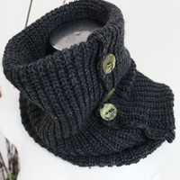 Charcoal gray wool infinity, Grey Neck Warmer, Button infinity scarves, Cool gray wool scarf, Hood man scarf, Unisex Tube gray infinity