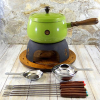 Fondue Set, Mid Century Modern, Avocado Green, Enamelware, Made in Japan