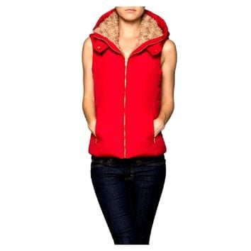 Puffer Hooded Vest with fur detail, Red