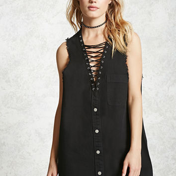 Frayed Lace-Up Denim Dress