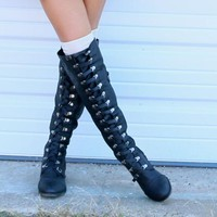 SZ 6.5 Far From Home Tall Black Buckle Riding Boots