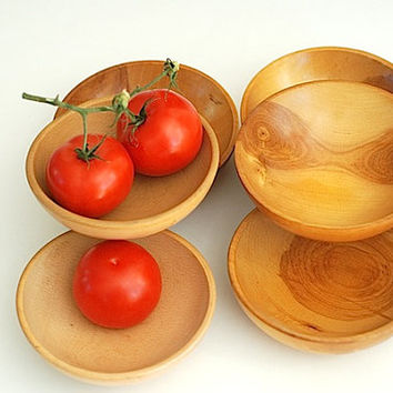 Beautiful Antique Rustic Wooden Hand Carved Salad Bowls , 1950's Retro Mad Men Gift For Her, Serving Bowls For  KitchenTable