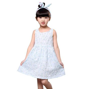 Girl Vestidos Children Kids Summer Dress Kids Teens Sleeves Printing Pattern Cotton Dress Clothes