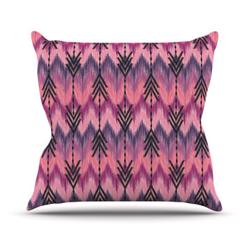 "Amanda Lane ""Indigo Orchid Chevron Arrows"" Pink Purple Outdoor Throw Pillow"