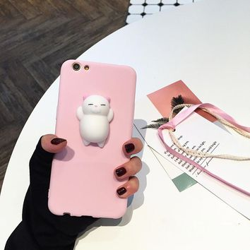 Squishy Mobile Phone Cases for iPhone X 8 7 Plus Case Kitty Panda Cat Lovely Soft Back Cover for iPhone 6s 6 Plus 5S Case IX