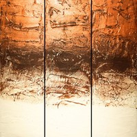 "View: extra large huge triptych 3 panel wall art silver gold effect painting big "" Chocolate and gold cake "" abstract metallic impasto elegant abstraction 4ft x 4ft 