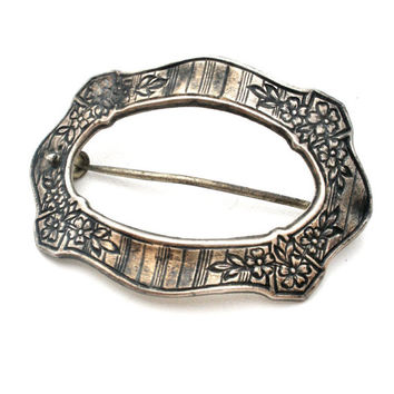 Sterling Silver, Buckle Brooch, Front Pin, Art Nouveau Brooch, Wedding Jewelry, Sash Ornament, Antique Pins, Wedding Fashion