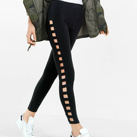 open ladder stripe sexy stretch legging