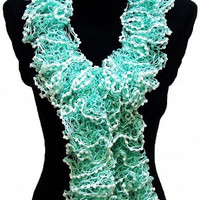Knitted Mint Green Ruffled Scarf by Arzu's Style