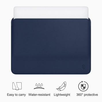 WiWU Laptop Sleeve for MacBook Air 13 inch Water-resistant PU Leather Case for MacBook Pro 13 15 Inch Ultra-slim Laptop Bag Case